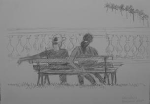 YOUNG COUPLE ON BENCH, SÂO LUIS │ February 2009 │ Pencil on A4 paper