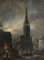 """Holy Trinity and St Michael's, Coventry, by Night"", British School. Date painted - c.1826. Oil on board. 19 x 13.9 cm. Herbert Art Gallery & Museum"