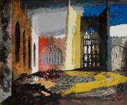 """Interior of Coventry Cathedral, 15 November 1940"" by John Piper. Date painted – 1940. Oil on canvas laid on board. 51 x 61 cm. Herbert Art Gallery & Museum"