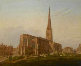 """St Michael's Church, Coventry"" by Edward Rudge. Date painted - c.1824. Oil on canvas. 57.5 x 75.2 cm. Herbert Art Gallery & Museum"