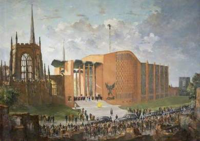 """The Consecration of the New Coventry Cathedral"" by Charles Ernest Cundall. 1962-64. Oil on canvas. 91.5 x 129 cm. Herbert Art Gallery & Museum"
