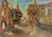 """The Ruins of St Michael's Church, the Golden Cross Inn and the Law Courts, Coventry"" by Beryl Clifton Bowyer. Date painted - 1942-1943. Oil on canvas laid on board. 25 x 35.3 cm. Herbert Art Gallery & Museum"