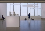 17 porcelain vessels in 7 aluminium and plexiglass vitrines on a plexiglass plinth 22 x 39 1/2 x 17 3/4 inches (56 x 100 x 45 cm) © Edmund de Waal. Courtesy Gagosian Gallery Photo Stephen White
