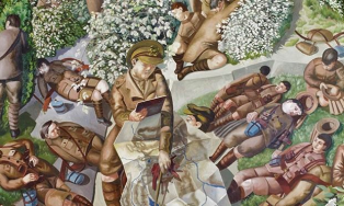 Detail from 'Map-reading', at Sandham Memorial Chapel, Hampshire. Photograph: National Trust Images