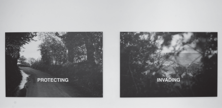 Willie Doherty, Protecting/Invading, 1987, Black and white photograph with text, 122 x 183 cm (each), Irish Museum of Modern Art