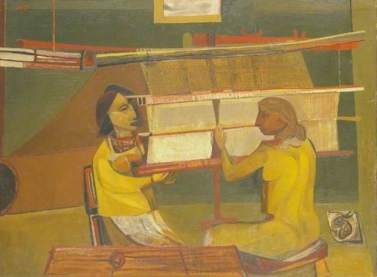 Weaving Army Cloth, by Robert Colquhoun, 1945. Oil on canvas, 75.5 x 101.5 cm. British Council Collection