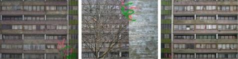 David Hepher: Tree, 2011. Oil, acrylic, inkjet and concrete on canvas, h. 208 x w. 810 cm