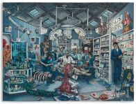 PLATE 2, THE AUTOPSY AT KING'S COLLEGE. Varnished plasticine on board, 183 by 245cm.; 72 by 96 1/2 in. 2014.