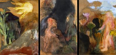 Ken Kiff, The National Gallery Triptych, 1993 acrylic on board
