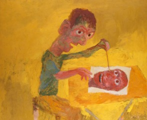 Man Painting, on Yellow, 1965, oil on board, 91.5 x 112 cm