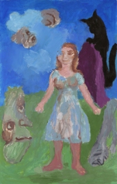 Sequence No. 79, Woman and surrounding things, acrylic on paper, 56 x 36 cm