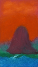 Island, Crimson Sky, late 1990's acrylic on board 36.5 x 21 cm