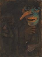 Dark figure, Mid 1970's, pastel on paper, 76.5 x 56 cm