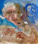 Artist and Blue Head, 1965, acrylic on board, 122 x 106.5 cm