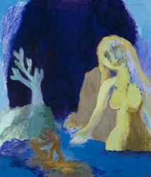 Woman Watching a Murder, 1996, acrylic on board, 76.2 x 63.5 cm