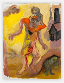 Sequence No. 35, Walking (the dead father), c.1990, acrylic on board, 56 x 44 cm