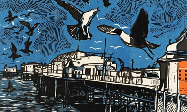 Brighton Pier, woodcut, 1988, by Rigby Graham. Courtesy of Goldmark Gallery