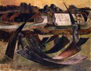 Building a Hutted Camp in Essex, 1942. Oil on cardboard, 60.4 x 76.3 cm. British Council Collection
