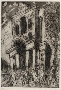 Leon Kossoff, Christ Church, Spitalfields, Spring, 1992, etching and aquatint on paper, 84 x 64 cm, © Leon Kossoff. Ben Uri Gallery & Museum Collection