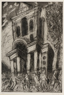 Leon Kossoff, Christ Church, Spitalfields, Spring, 1992, etching and aquatint on paper, 84 x 64 cm, © Leon Kossoff. Ben Uri Gallery & Museum Collection