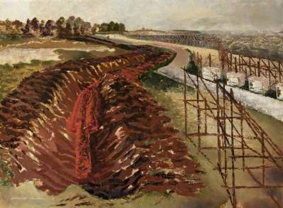 Anti-Tank Ditch, 1939. Oil on board, 60.2 x 81 cm. Russell-Cotes Art Gallery & Museum