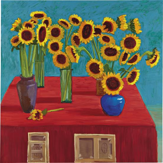 David Hockney: 30 Sunflowers, 1996. Oil on canvas, 72 x 72 in. (182.9 x 182.9 cm.)