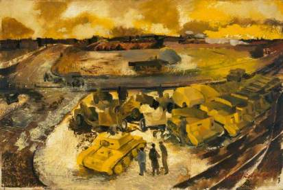 The Industrial Battle: Tanks Ready for Shipment Overseas, c.1943. Oil on panel, 50.8 x 76.2 cm. IWM (Imperial War Museums)