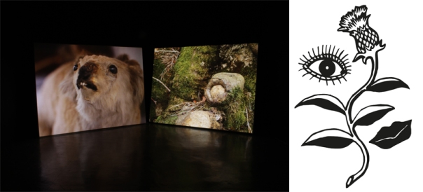 Left: Edward Humphrey, Another Fiction, 2014, video still. Right: Brownlee Brothers, Drawing for embroidered Mort Cloth, 2015