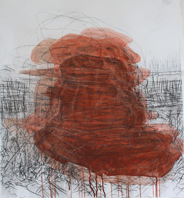 Megalith 1, 2014, gouache, charcoal and graphite on paper, 85 x 90cms, Sara Dudman