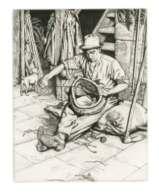 The Farm Hand, 1933. Engraving. 19.2 x 15 cm. Private Collection / © Stanley Anderson Estate.