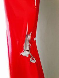 Detail of Angela de la Cruz's Battered 4 (Red), 2012. Photo: Beccy Kennedy