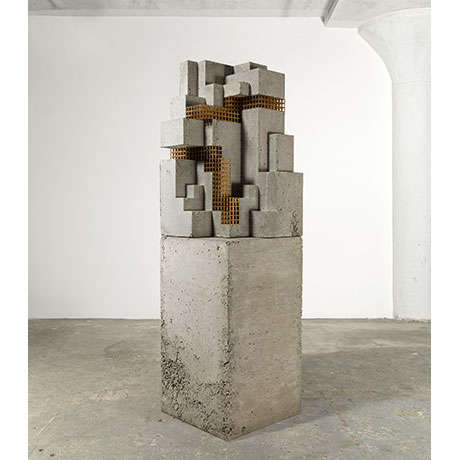 Carol Bove 'Hysteron Proteron', 2014. Brass, concrete. Courtesy of the artist and Maccarone, New York and David Zwirner, New York/London