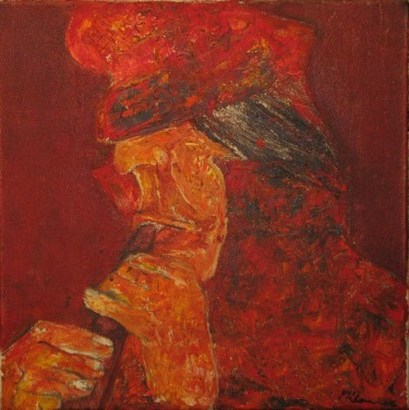 Untitled (Profile). Oil on canvas, 30 x 30cm (11 3/4 x 11 3/4 in.)