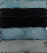 Landline Black Blue, 2014. Oil on aluminium, 215.9 x 190.5 cm, 85 x 75 in