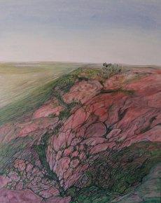 Wirral-jurassic sandstone. Oil on canvas