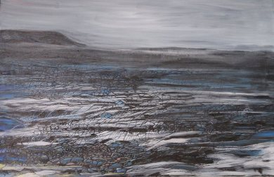 """""""This is where the northern wind can howl day or night."""" Icelandic fields of lava. Oil on canvas"""