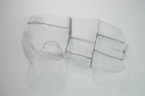 The One, 2014-15, steel wire and white paint, 127 x 61 x 28 cm