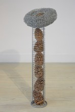 Love's Tender, 2015, steel wire, pine cone and retrieved object, 100 x 36 cm