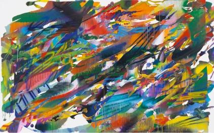 KATHARINA GROSSE: Untitled, 2015. Acrylic on canvas, 94 1/2 × 152 3/4 inches (240 × 388 cm). Photo: Olaf Bergmann