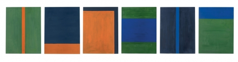Untitled, 1994. Acrylic on lead laid down on panel. Six parts, each 47 1/4 x 35 7/16 in. (120 x 90 cm)