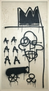 JEAN-MICHEL BASQUIAT: Untitled, 1981. Aerosol paint, pencil, felt-tip pen, acrylic, and enamel paint on panel, 50 1/2 × 29 inches (128.3 × 73.7 cm)