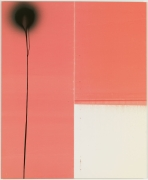 WADE GUYTON & STEPHEN PRINA: Wade Guyton, Untitled 2011, Epson UltraChrome inkjet on linen / Stephen Prina, PUSH COMES TO LOVE, Untitled, 1999–2011, 2011. Epson UltraChrome inkjet on linen and acrylic enamel on linen; The contents of a can of enamel spray paint. 84 × 69 inches (213.4 × 175.3 cm). Photo: Rob McKeever