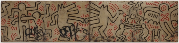 KEITH HARING: Untitled (FDR NY) #25 & #26, 1984. Spray enamel paint on metal, 40 × 204 inches (101.6 × 518.2 cm). Photo: Mike Bruce