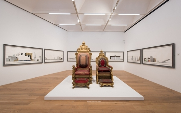 Two William IV chairs installed by Pablo Bronstein at Nottingham Contemporary. Photo: Hugo Glendinning.