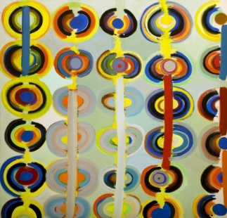 Autumn Rings Andeuze, September 1971, 1983. Acrylic paint on canvas 164.2 x 164.2 cm. Usher Gallery, Lincoln