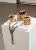 Chloe Wise, Matzochism Cuff Set, 2015, oil paint, urethane, hardware & fur, dimensions variable