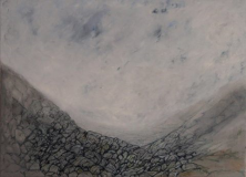 """Glacial valley. """"These images are fixed in my head and I paint them from memory."""" Oil on canvas"""