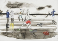 Untitled (Dilettantes Eel hunting in the Memory of Consciousness), 2014. Pencil, acrylic and ink on paper, 110 x 155 cm paper size, 133 x 178 cm framed