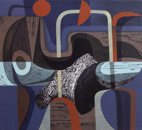 Riverland Dream, 7/10, 2014. Woodcut and stencil, 30cm x 33cm