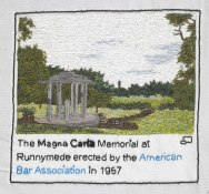 Wallpaper: Sian Kibblewhite of the Embroiderers' Guild (West Midlands Region) created this vista of the Magna Carta memorial, located at the water-meadow of Runnymede in Windsor